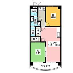 ハイツ五反田[3階]の間取り