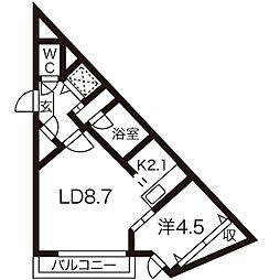 札幌市営東豊線 東区役所前駅 徒歩11分の賃貸マンション 1階1LDKの間取り