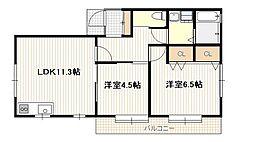 広島県広島市佐伯区楽々園4丁目の賃貸アパートの間取り