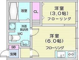 JR仙山線 国見駅 徒歩2分の賃貸アパート 1階1DKの間取り