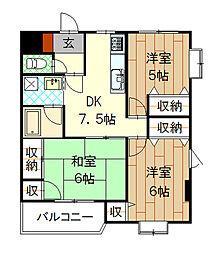 プライムハイツR・K[502号室]の間取り