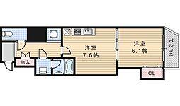 グラート西田辺[3階]の間取り