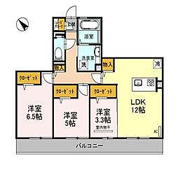 大阪府和泉市池上町3丁目の賃貸アパートの間取り