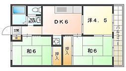 パレ守口 2階3DKの間取り