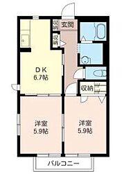神奈川県横浜市戸塚区原宿5丁目の賃貸アパートの間取り