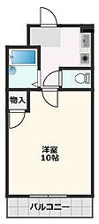 朝日が丘尾田ハイツ 2階1Kの間取り