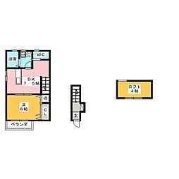 カーサフィオーレ東古松[2階]の間取り