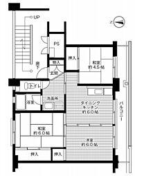 兵庫県丹波市氷上町石生の賃貸マンションの間取り