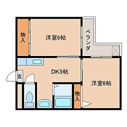 奈良県奈良市二条大路南5丁目の賃貸マンションの間取り