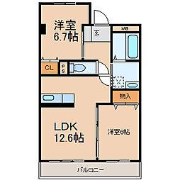 シャトーI (シャトーワン)[3階]の間取り