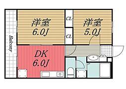 エントピア成田湯川[203号室]の間取り