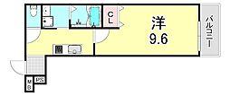 フジパレス江坂町 3階1Kの間取り