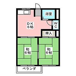 ドミールハラ A棟[2階]の間取り