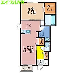 三重県津市久居北口町の賃貸アパートの間取り