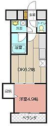 デザイナープリンセス中津口 6階1DKの間取り