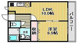 大阪府堺市堺区北三国ヶ丘町1丁の賃貸アパートの間取り