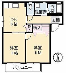 ファミーユ中野 A棟[102号室]の間取り
