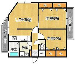 福岡県福岡市博多区三筑2丁目の賃貸マンションの間取り