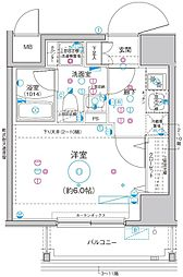 Le'a横濱関内弐番館 6階1Kの間取り