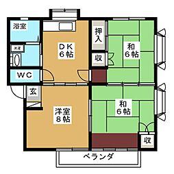 コーポコーラルA[2階]の間取り