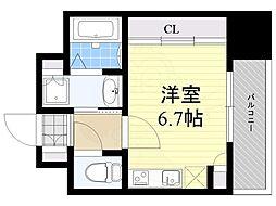 西鉄天神大牟田線 高宮駅 徒歩7分の賃貸マンション 8階ワンルームの間取り