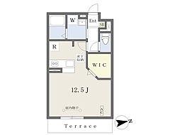 JR東北本線 南福島駅 徒歩10分の賃貸アパート 1階ワンルームの間取り