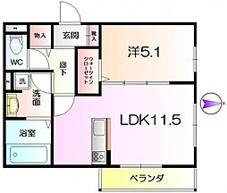 大阪府堺市西区家原寺町1丁の賃貸アパートの間取り