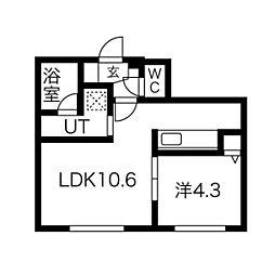 仮)オルセー北17条 1階1LDKの間取り