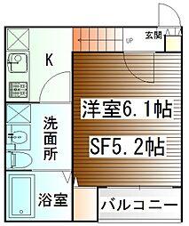 仙台市営南北線 北四番丁駅 徒歩7分の賃貸アパート 2階1SKの間取り