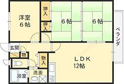 大阪府東大阪市北石切町の賃貸アパートの間取り