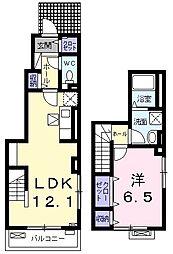 東京都青梅市今寺5丁目の賃貸アパートの間取り