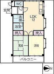 花家のハイツII[2階]の間取り