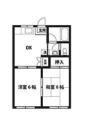 竹ノ花ハイツ[102号室]の間取り