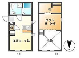 愛知県名古屋市中村区香取町1丁目の賃貸アパートの間取り