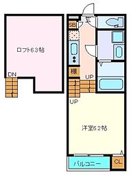 JR仙石線 中野栄駅 徒歩8分の賃貸アパート 2階1Kの間取り