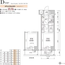 ティモーネ グランデ錦糸町 5階1Kの間取り