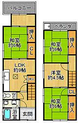 [一戸建] 兵庫県尼崎市長洲中通3丁目 の賃貸【/】の間取り