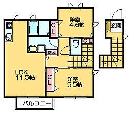 カーサミアF[1階]の間取り