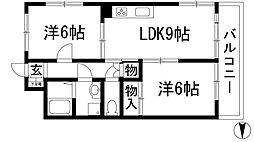 シャトレー多田[3階]の間取り