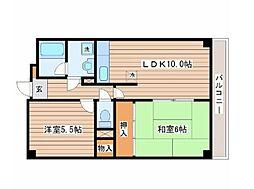 JR東北本線 南仙台駅 徒歩20分の賃貸マンション 2階2LDKの間取り
