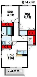 グランドゥール壱番館 A[1階]の間取り