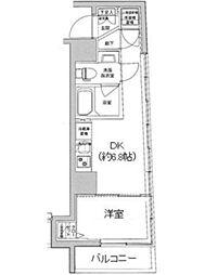 都営大江戸線 若松河田駅 徒歩4分の賃貸マンション 7階1DKの間取り