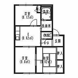 大阪府高石市東羽衣5丁目の賃貸アパートの間取り
