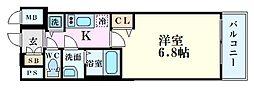 プレサンス立売堀パークシティ 12階1Kの間取り