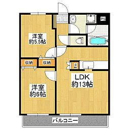 茨城県つくば市梅園2丁目の賃貸マンションの間取り