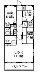 神奈川県横浜市磯子区森1丁目の賃貸マンションの間取り