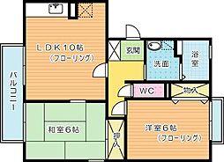 福岡県北九州市小倉南区横代北町1丁目の賃貸アパートの間取り