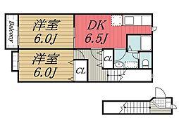 千葉県市原市千種7丁目の賃貸アパートの間取り