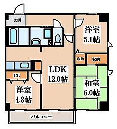 グランドール鴻池 3階3LDKの間取り