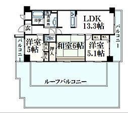 ライオンズマンション六甲 6階3LDKの間取り